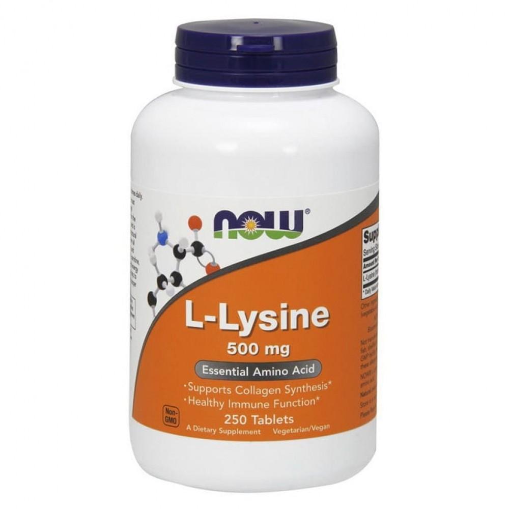 L-Lysine 500 mg NOW 250 табл